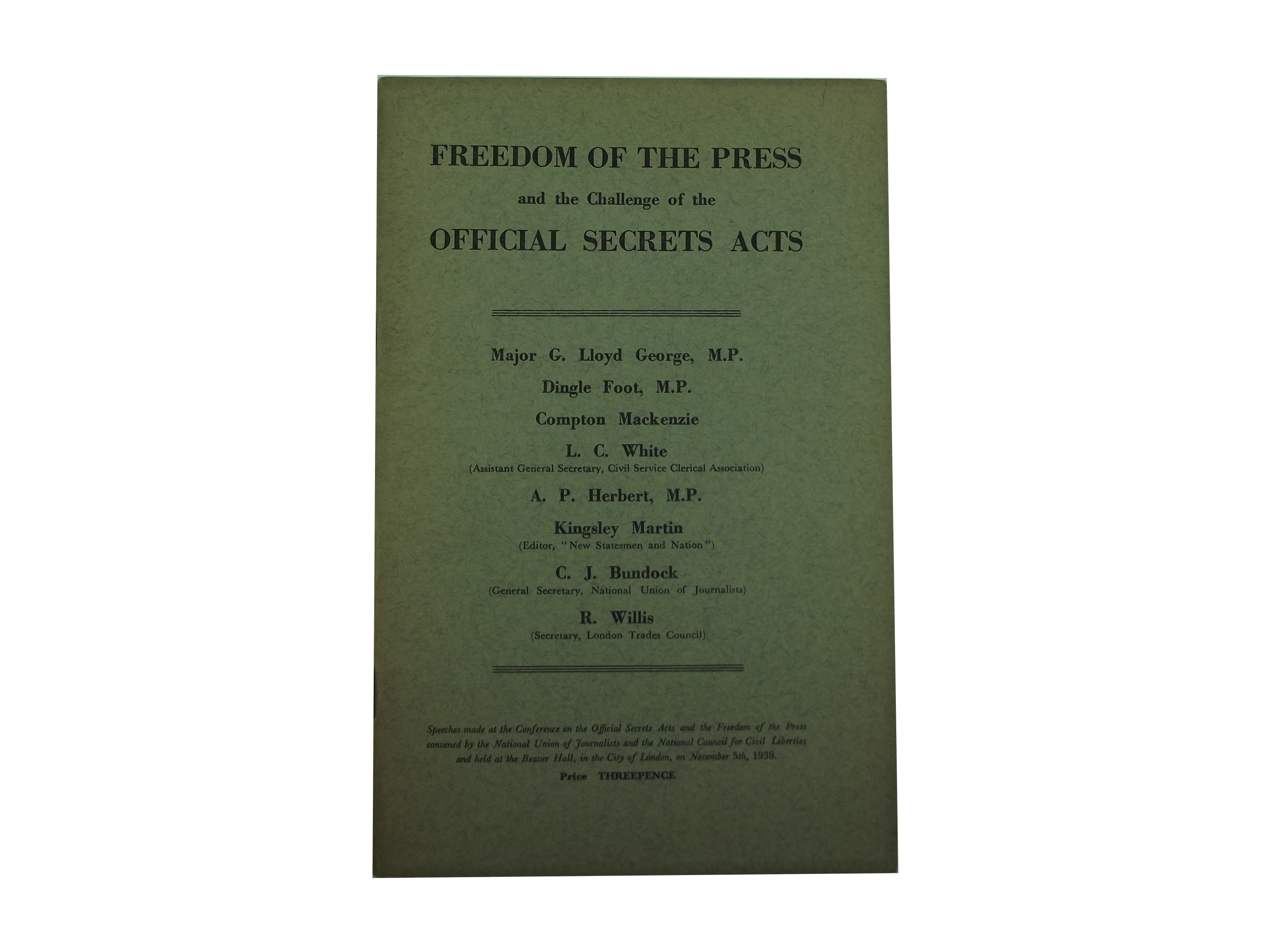 Freedom of the press and Official Secrets acts pamphlet