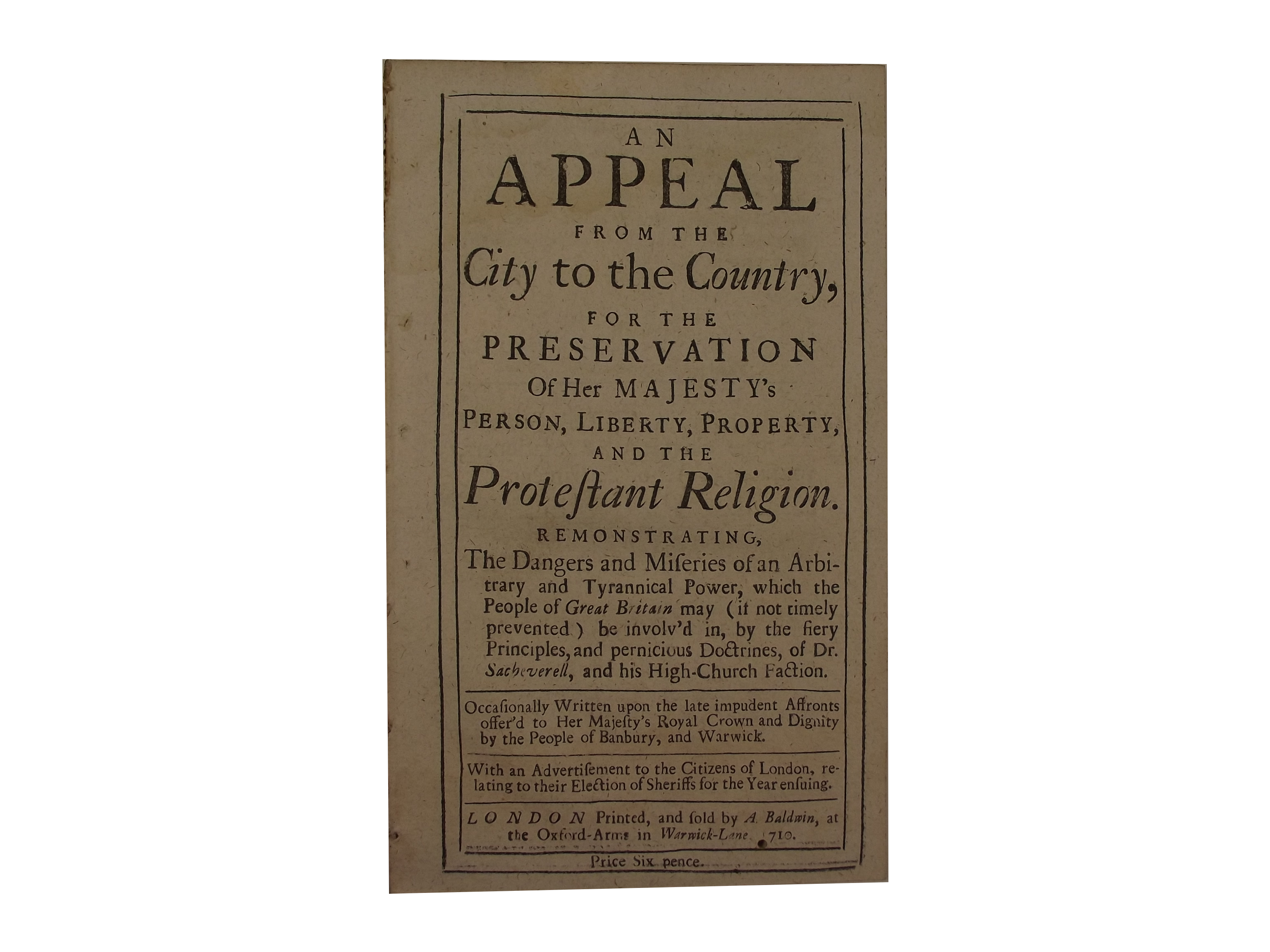 An Appeal from the City to the Country Pamphlet
