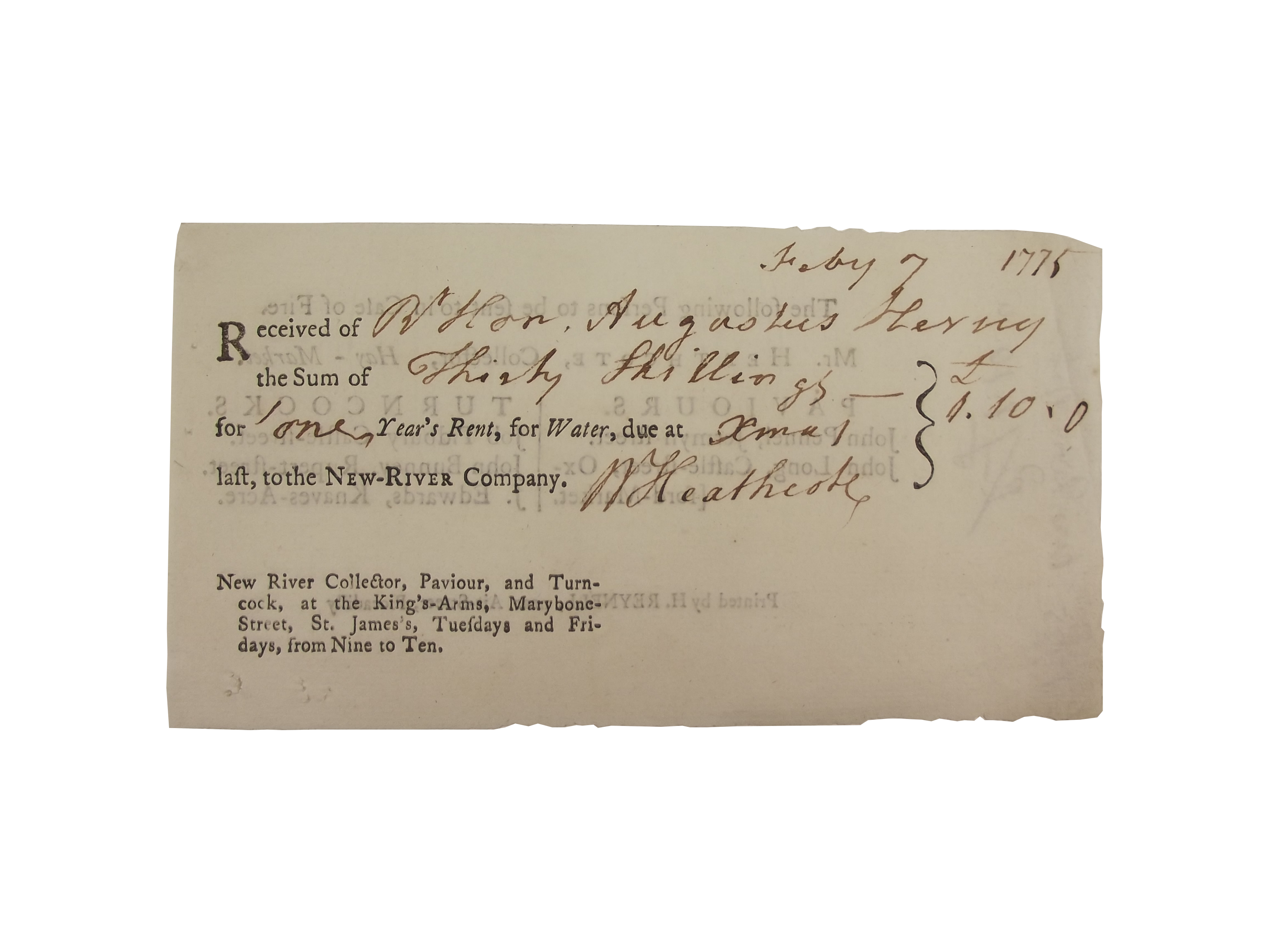New River Company receipt