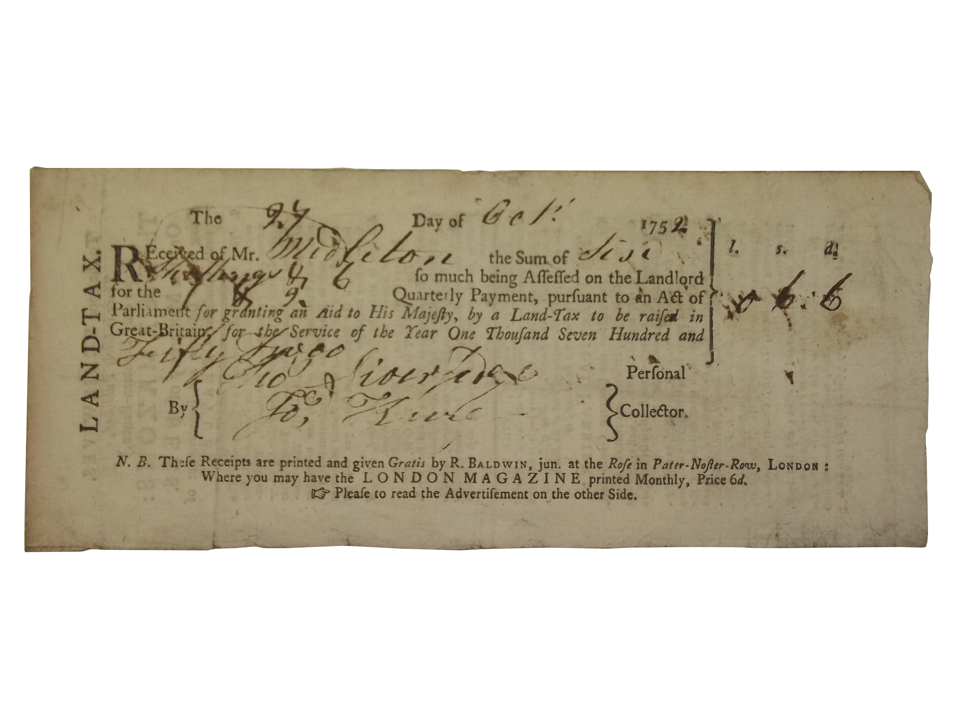 Receipt for Land tax