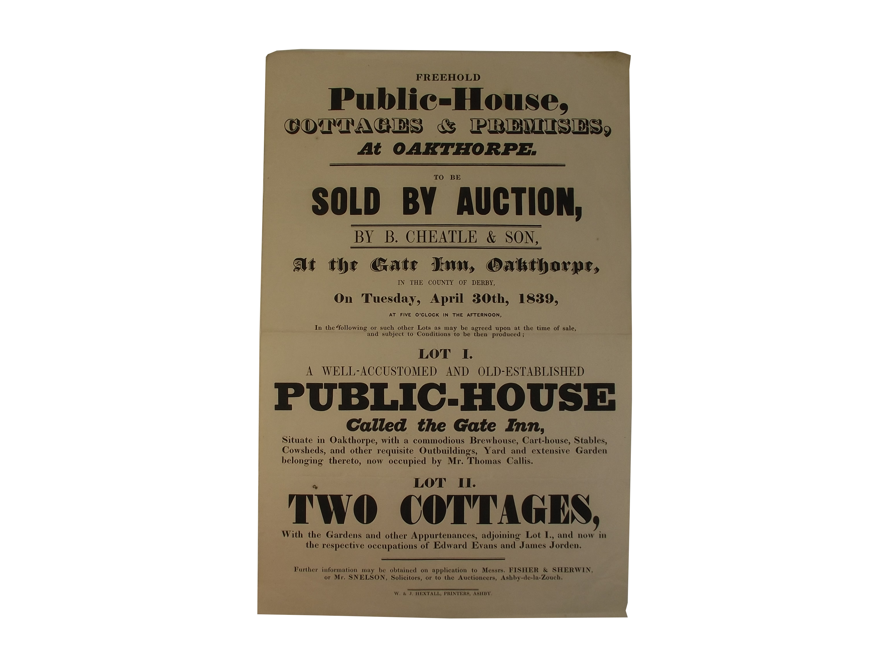 Ashby-de-la-Zouch auction notice