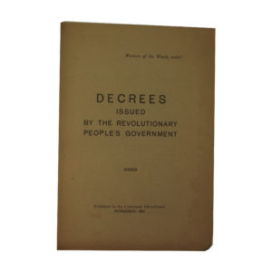 Decrees Issued By the Revolutionary Peoples Government