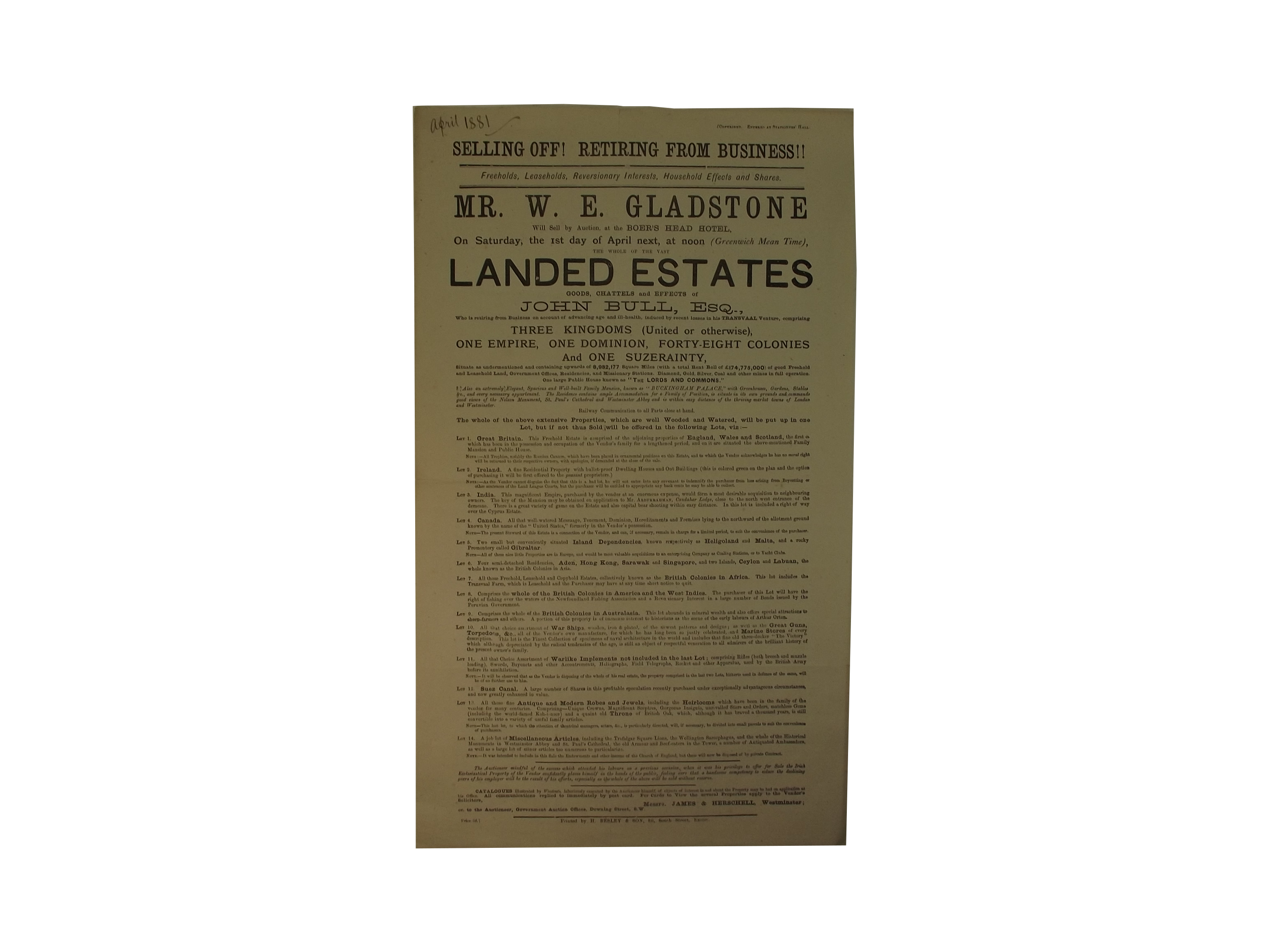 Anti-Gladstone Broadside