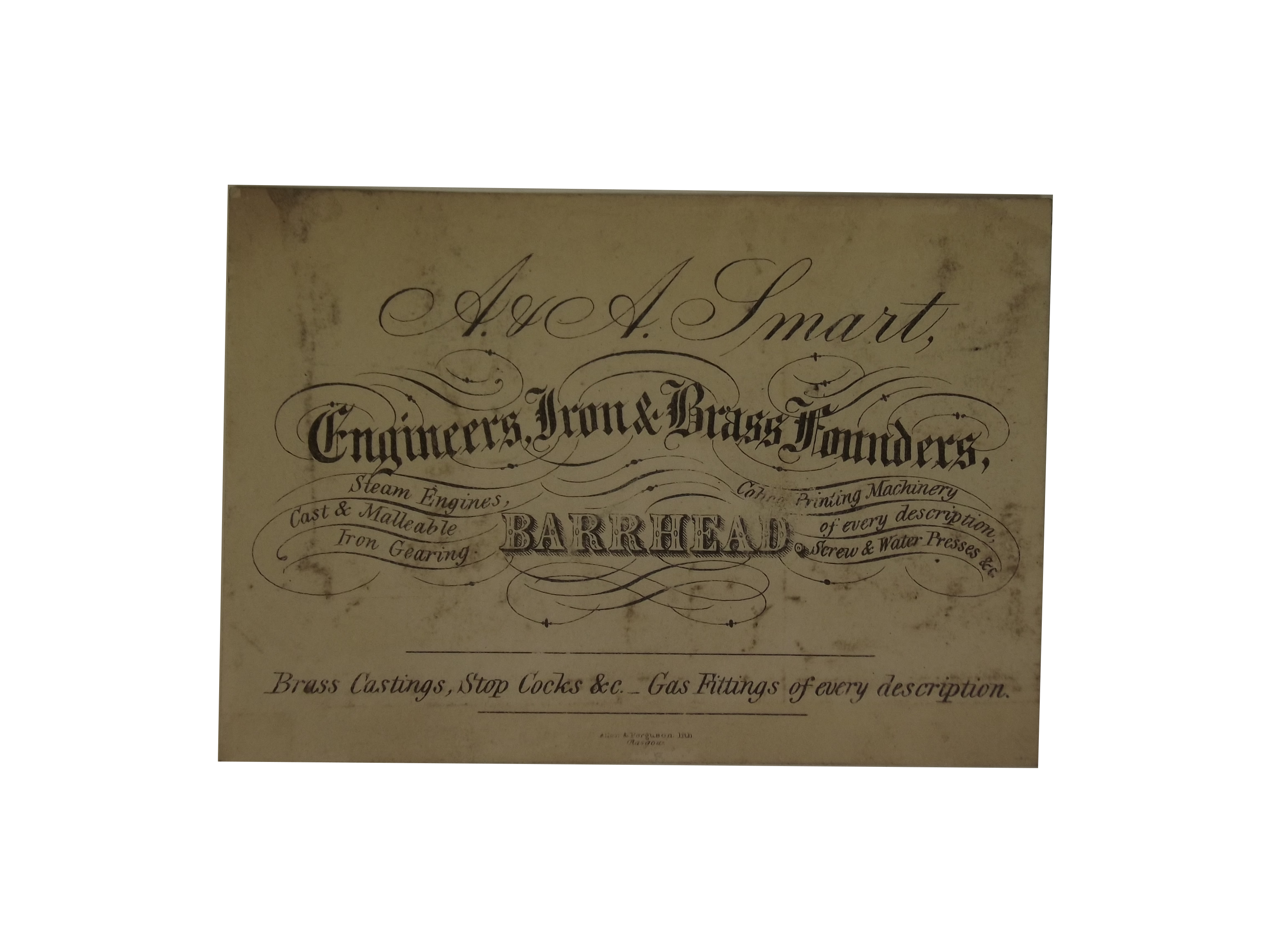 Engineers, Iron & Brass Founders Trade Card